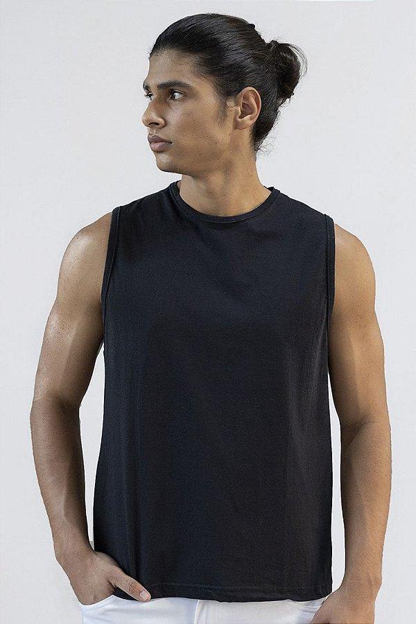 Camiseta Regata Basica Masculina Versatti Preta Alagoas A20