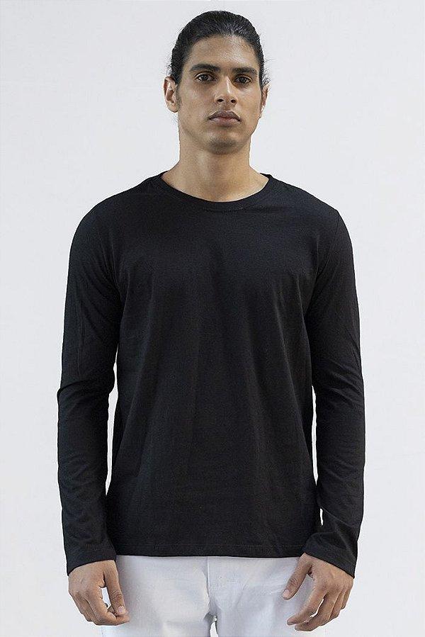 Camiseta Basica Masculina Manga Longa Versatti Preta Piaui A20