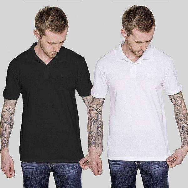 Kit 2 Camisetas Polo Preto e Branco Versatti Nicaragua A20