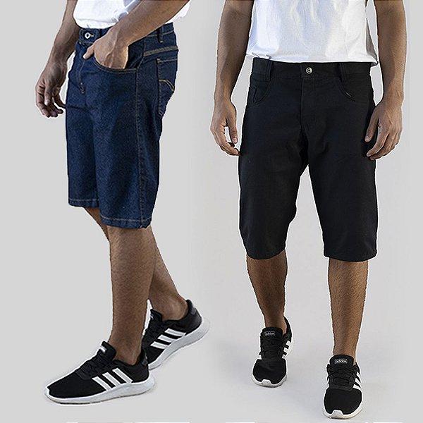 Kit 2 Peças Bermudas Jeans Azul e Sarja Preta A20 Tel Aviv A20