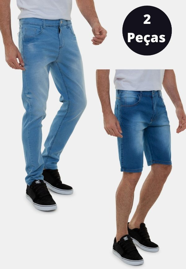 Kit 2 Peças Bermuda e Calça Jeans Azul A20 Barcelona