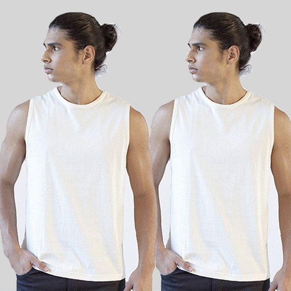 Kit 2 Camisetas Regatas Branca Basica Versatti A20