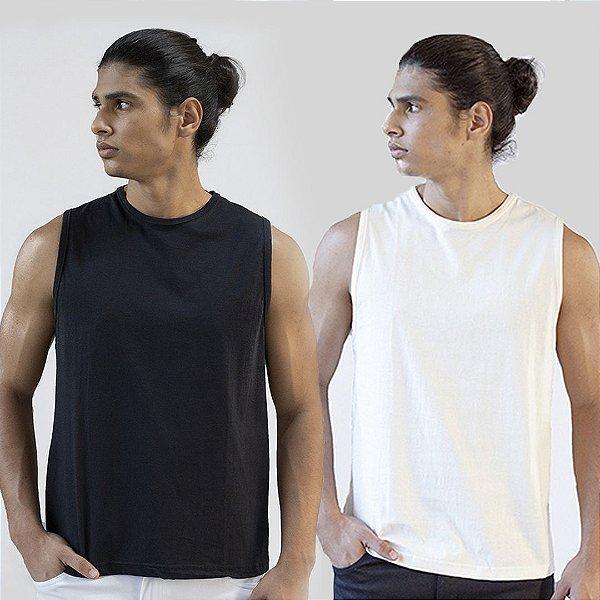 Kit 2 Camisetas Regatas Preta e Branco Basica Versatti Polonia A20