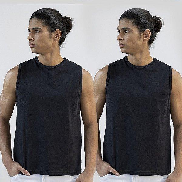 Kit 2 Camisetas Regatas Preta Basica Versatti A20