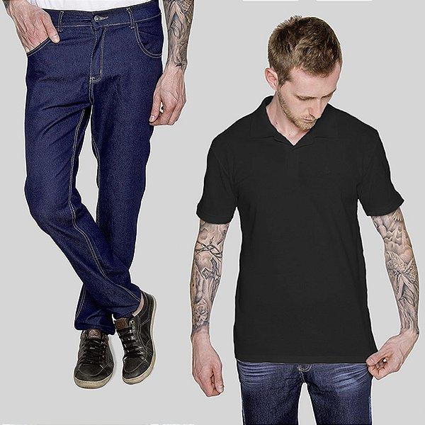 Kit 2 peças Camisa Polo Preta e Calça Jeans A20