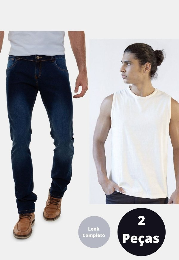 Kit 2 peças Calça Jeans e Regata Versatti Angola