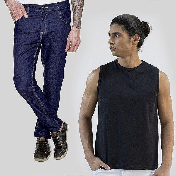 Kit 2 peças Regata Preta e Calça Jeans A20 Sanmarino