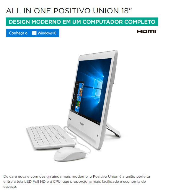 """All in One Union 18,5 """" LED  - Dual Core - 04GB DDR3 - Webcan - Super Slim Branco / Revenda + 5% Desc."""