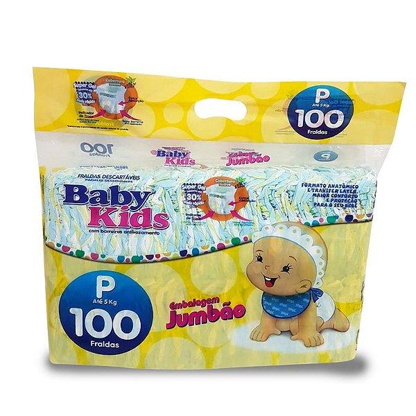 Fralda Infantil Baby Kids Jumbão P 100 unidades