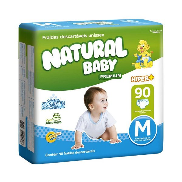 Fralda Natural Baby Premium Hiper M 90 Unidades