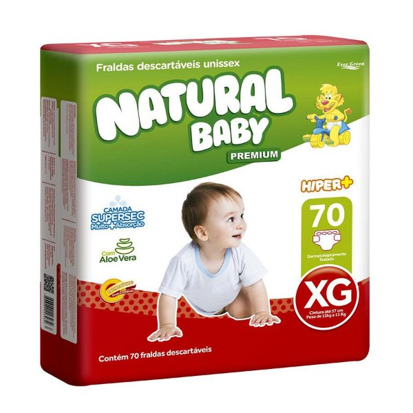 Fralda Natural Baby Premium Hiper XG 70 Unidades