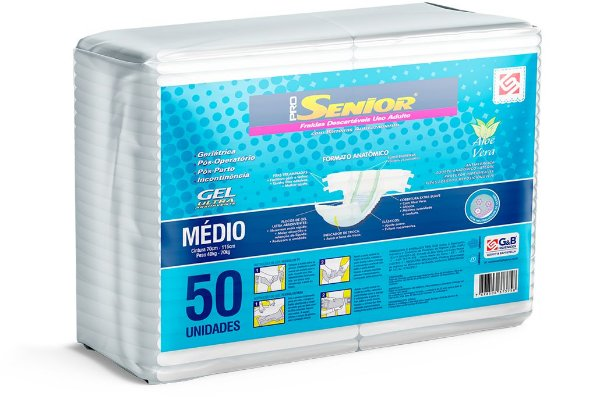 Fralda Geriátrica Pro Senior Super M 50 Unidades