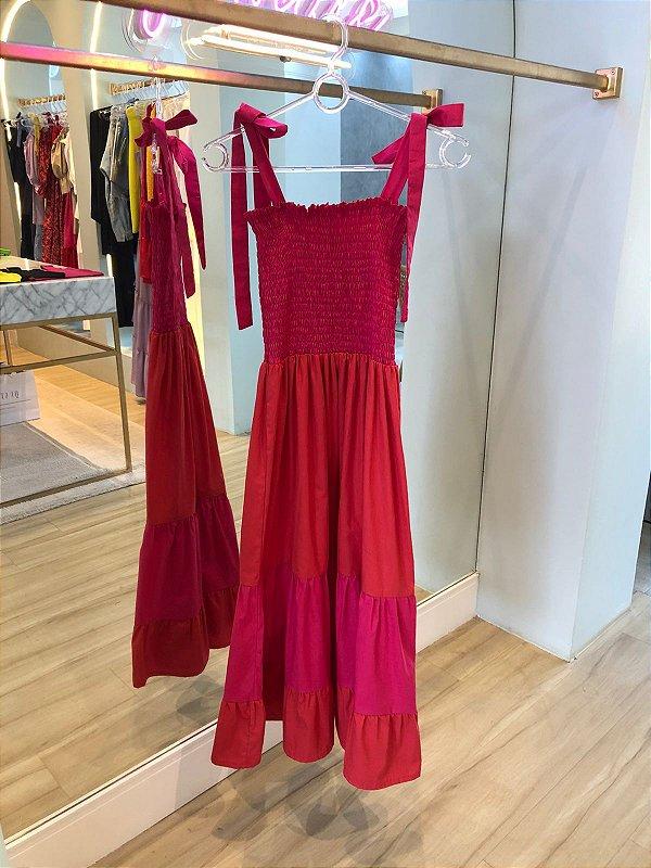 Vestido Valentina Rosa e Vermelho