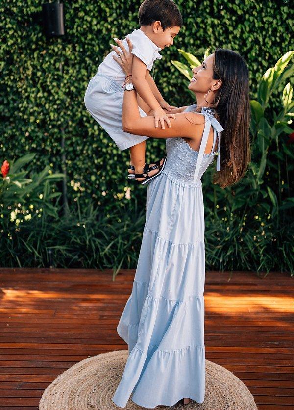Vestido Tina Azul Bebê