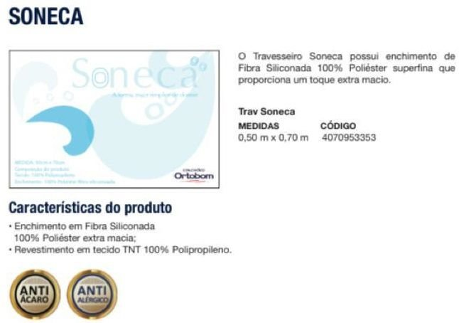 TRAVESSEIRO ORTOBOM SONECA 0,50X0,70X0,23