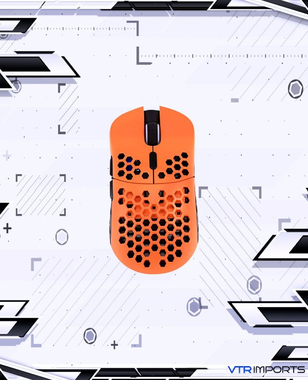 Mouse HK Gaming Mira S Ultra Lightweight Honeycomb Shell Wired RGB Gaming Mouse - Up to 12 000 cpi | 6 Buttons - 61g Only (Mira-S, Black & Orange)