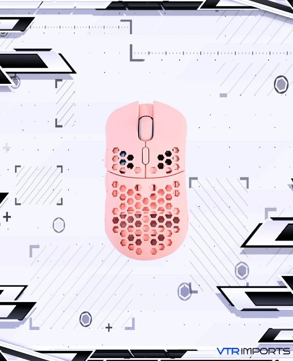 Mouse HK Gaming Mira S Ultra Lightweight Honeycomb Shell Wired RGB Gaming Mouse - Up to 12 000 cpi   6 Buttons - 61g Only (Mira-S, Rose Quartz)