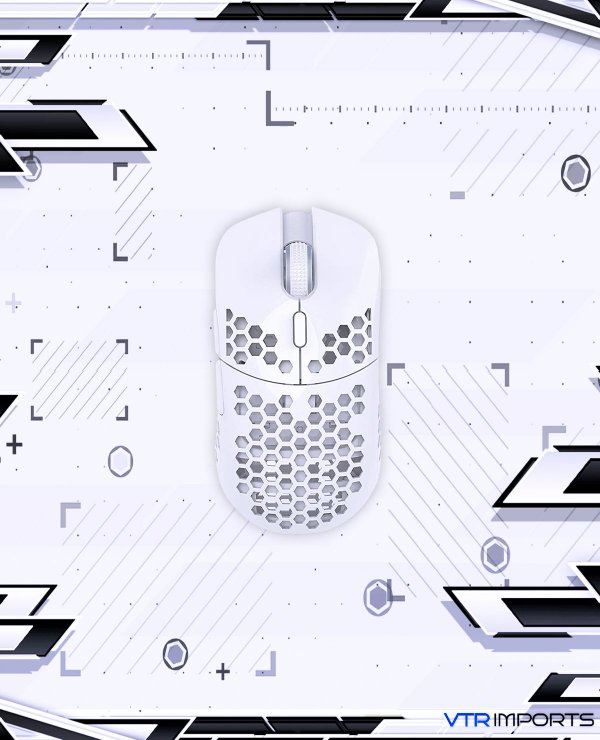 Mouse HK Gaming Mira S Ultra Lightweight Honeycomb Shell Wired RGB Gaming Mouse - Up to 12 000 cpi   6 Buttons - 61g Only (Mira-S, White)