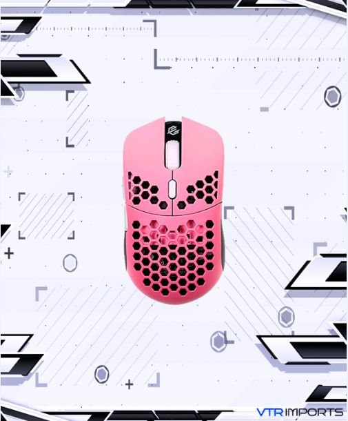 Mouse G-Wolves Hati S HTS Sakura Limited Edition 49g Ultra Lightweight Honeycomb Design Wired Gaming Mouse up to 16000 DPI - 3389 Performance Sensor - (Pink)