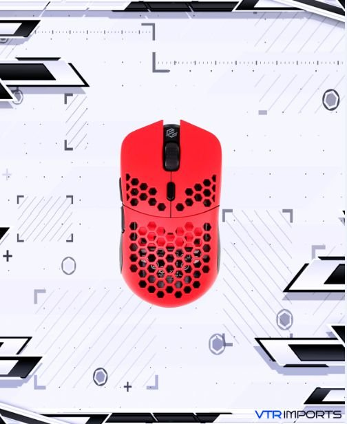 Mouse G-Wolves Hati HTS Ultra Lightweight Honeycomb Design Wired Gaming Mouse 3360 Sensor - PTFE Skates - 6 Buttons - 50G (Red)