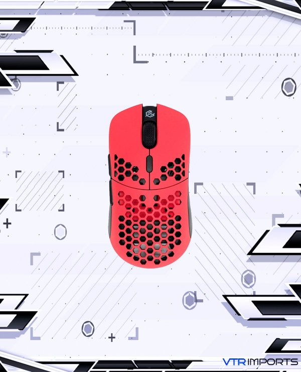 Mouse G-Wolves Hati HTM Ultra Lightweight Honeycomb Design Wired Gaming Mouse 3360 Sensor - PTFE Skates - 6 Buttons - Only 61g (Faze Red)