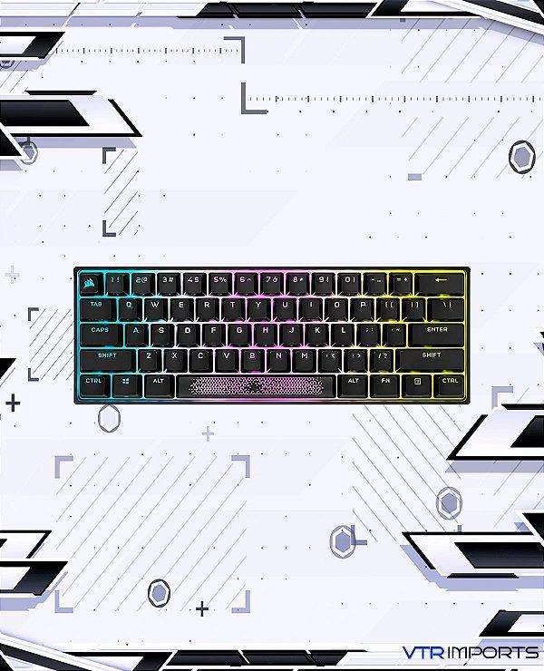 Teclado Corsair K65 RGB MINI 60% Mechanical Gaming Keyboard (Customizable Per-Key RGB Backlighting, CHERRY MX Speed Mechanical Keyswitches, Detachable USB Typ