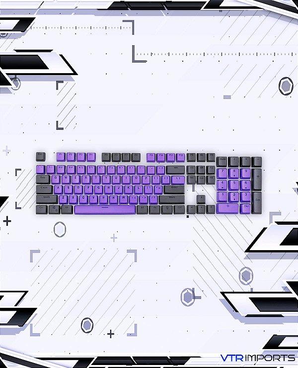 Keycaps Purple and Black PBT 104 Teclas (Teclado Full-Size)