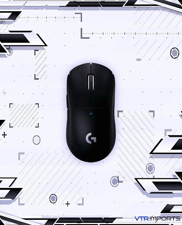 Mouse Logitech G Pro Superlight Preto 61gr + Keycaps Custom Aleatórias + Manguito Esports