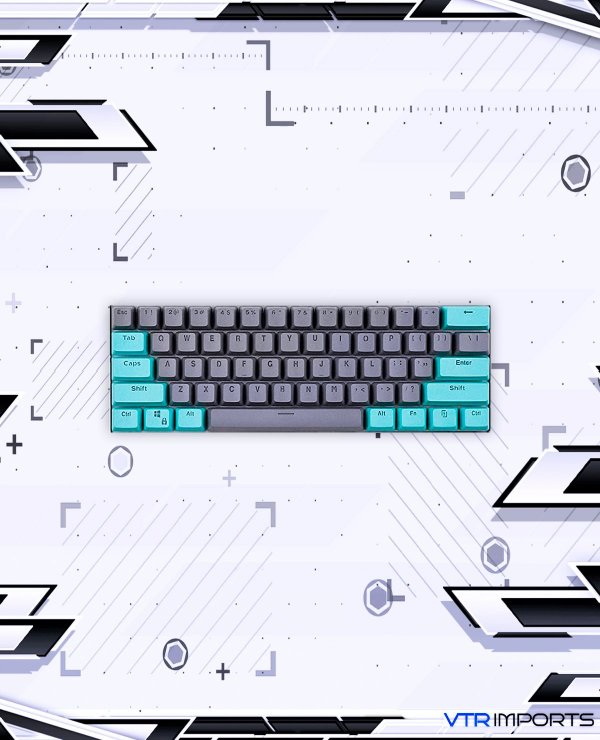 Keycaps Cyan Gray PBT 104 Teclas (Teclado Full-Size)
