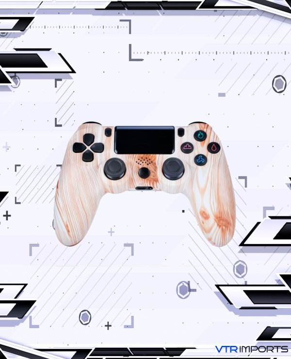 Controle PS4 - Wood Color (Acompanha caixa e cabo carregador)