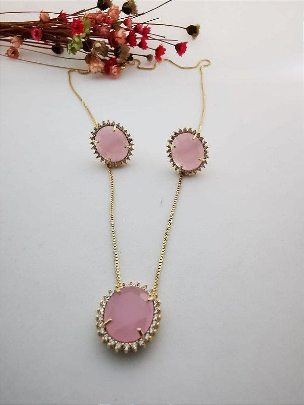 Conjunto oval cristal rosa