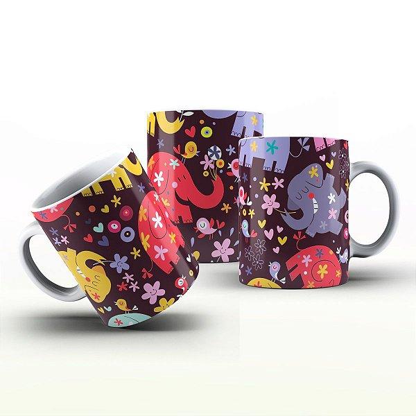 Caneca Personalizada Divertidas  - Elefantes felizes