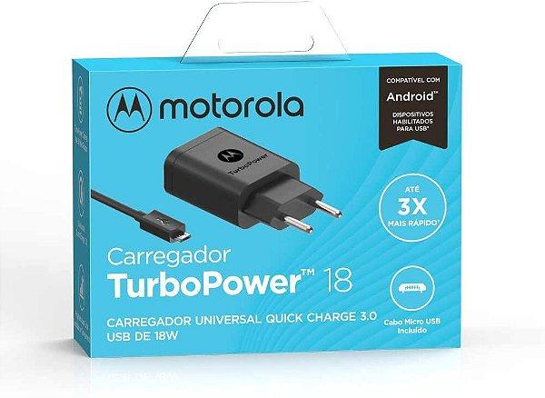 Carregador Motorola Turbo Power 18W Micro USB