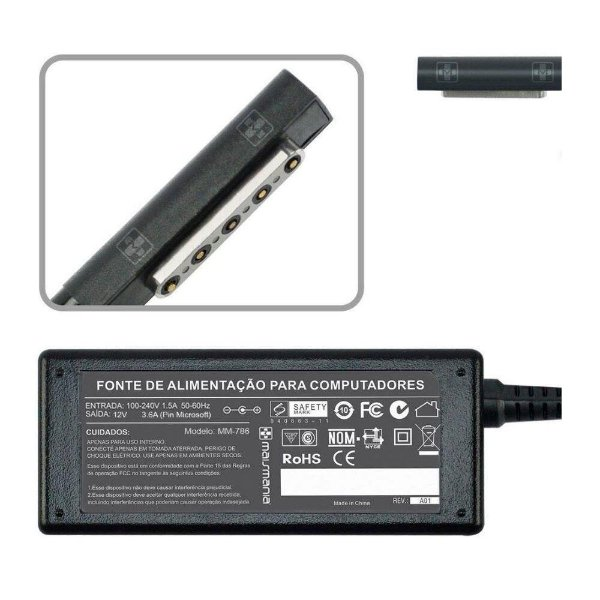 Fonte Para Tablet 12v 3.6a 5 Pin Microsoft
