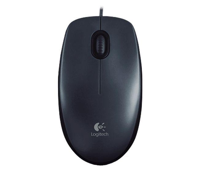 Mouse com fio Logitech, Conexão USB e design ambidestro