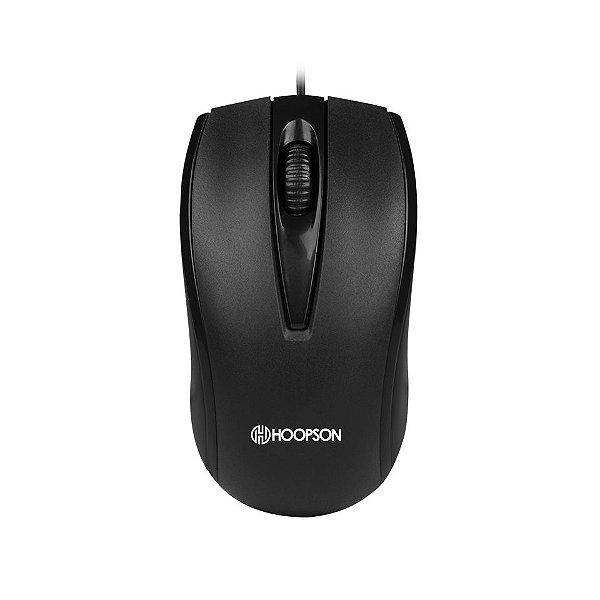 Mouse Óptico Hoopson, Design Ergonômico - Preto