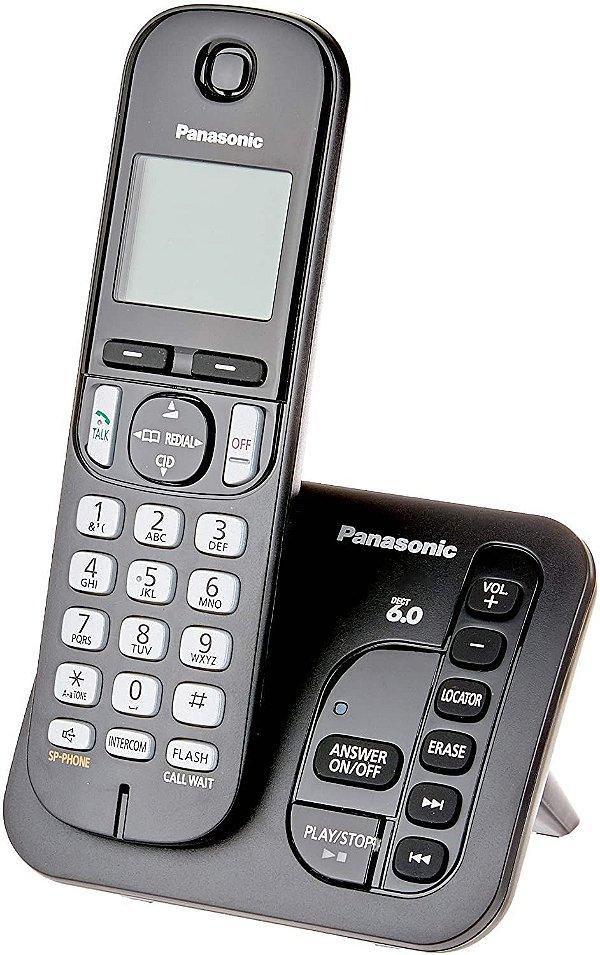 Telefone sem Fio Panasonic Kxtgc220LB, Secretária Eletrônica Digital - Preto