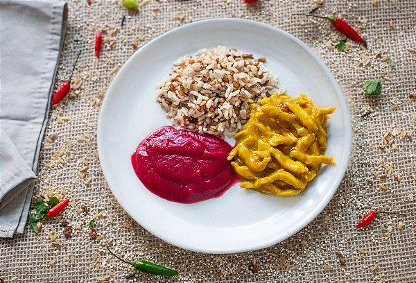 Frango ao mel e mostarda, arroz 7 grãos e purê de beterraba (glúten free/ lac free) - 400g