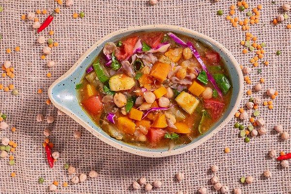 Sopa de grão de bico com legumes (low carb/ glúten free/ lac free/ vegano) - 400g