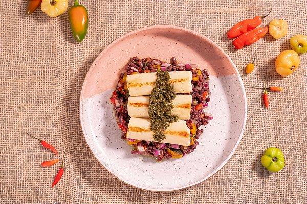 Feijão azuki com legumes e pupunha ao pesto (glúten free/ lac free/ vegano) - 400g