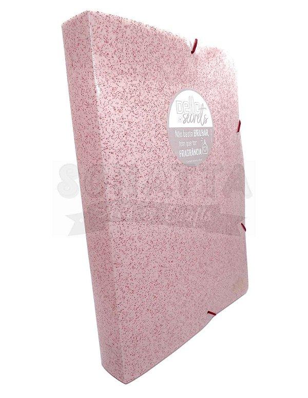 Pasta Perfumada Aba Elástico Ofício Lombo 4cm Dello Secrets Rosa Claro 0276W