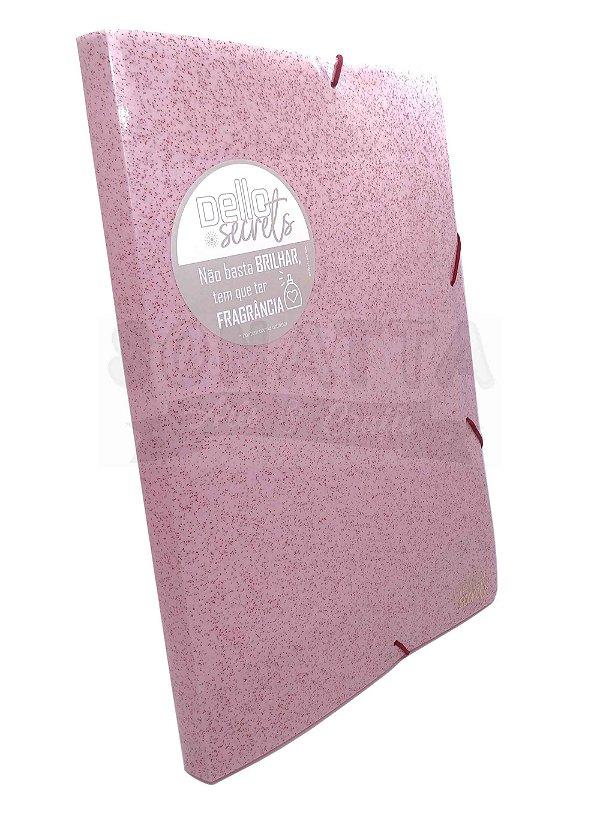 Pasta Perfumada Aba Elástico Ofício Lombo 2cm Dello Secrets Rosa Claro 0275W