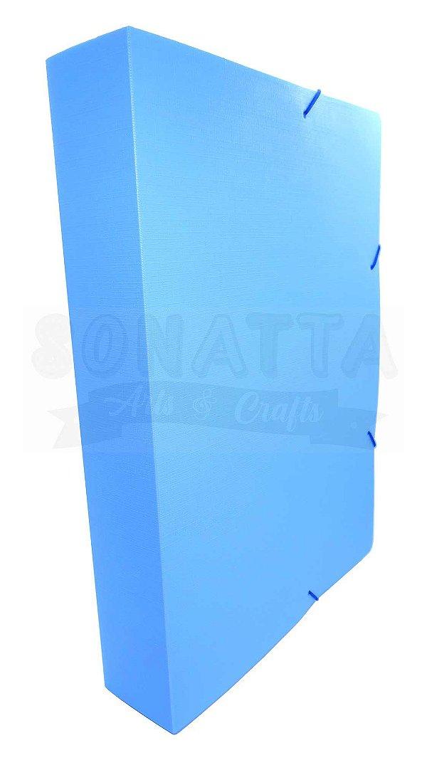 Pasta Aba Elástico Ofício Lombo 5cm Dello Linho Serena Azul Pastel 0250BP