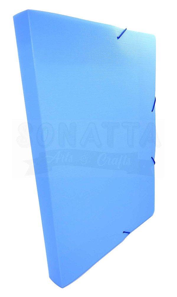 Pasta Aba Elástico Ofício Lombo 3cm Dello Linho Serena Azul Pastel 0248BP