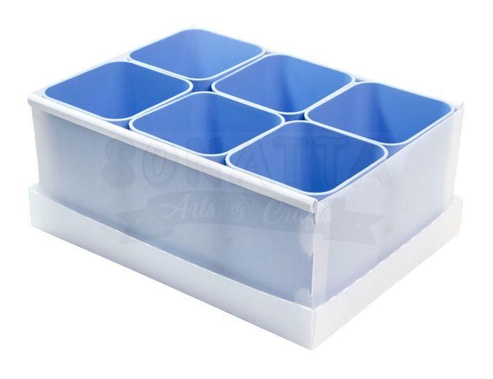 Caixa Organizadora Dello com 6 Porta Objetos Azul Claro 2193B