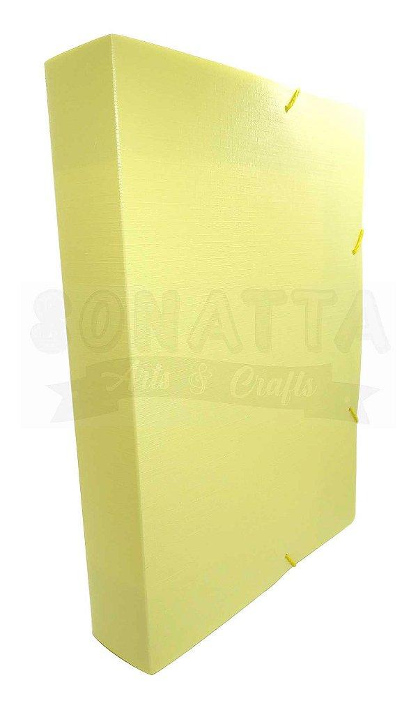 Pasta Aba Elástico Ofício Lombo 5cm Dello Linho Serena Amarelo Pastel 0250AP