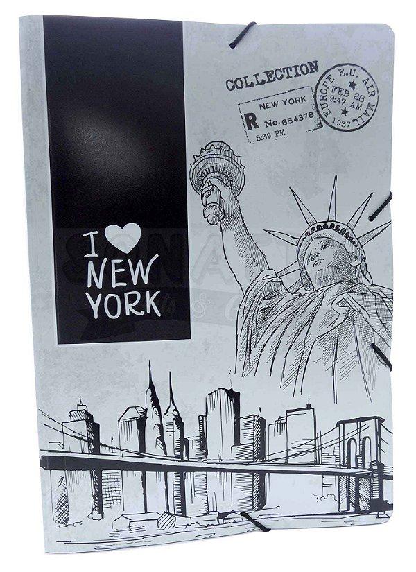 Pasta Aba Elástico Ofício Dello Mundi Preta New York 0261P