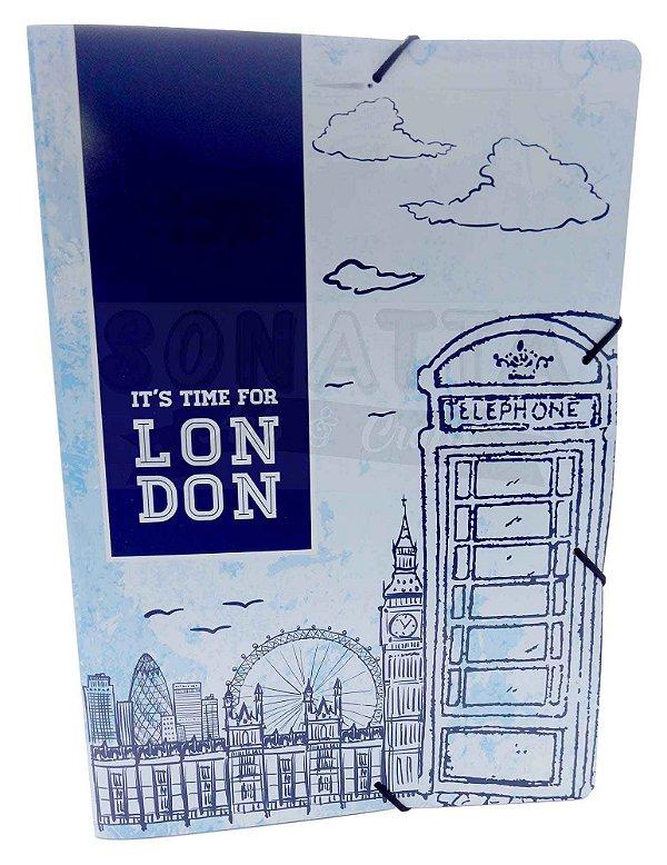 Pasta Aba Elástico Ofício Dello Mundi Azul London 0261C