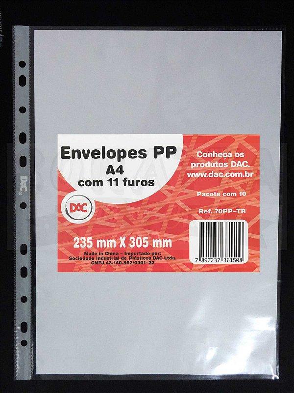 10 Envelopes Plásticos tamanho A4 com 11 Furos DAC 70PP-TR