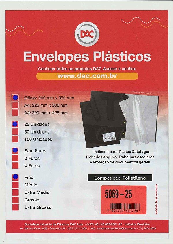 25 Envelopes Plásticos Finos Ofício Sem 4 furos DAC 5069-25